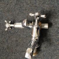 Bath Pillar Taps in Chrome - Hexagonal H&C Cross Head
