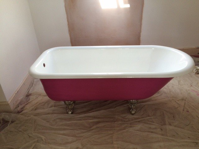 Roll top cast iron bath restoration process